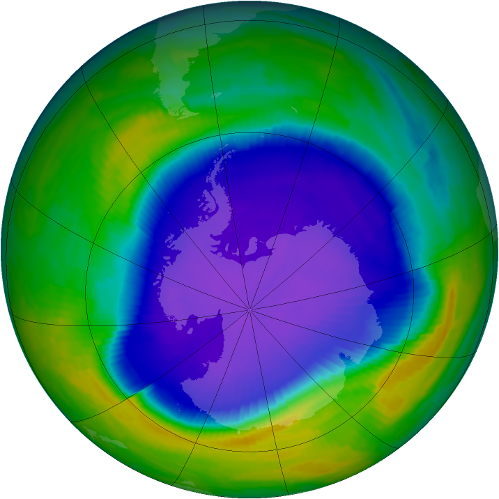 Antarctic ozone map for 08 October 1997